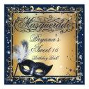 masquerade mask gold & royal blue birthday party invitations