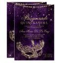 masquerade mask purple gold glitter quinceanera invitation
