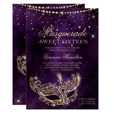 masquerade mask purple gold glitter sweet 16 invitation
