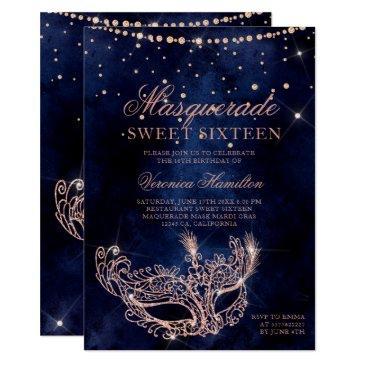 masquerade mask rose gold glitter sparkle sweet 16 invitation