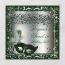 masquerade mask silver & green birthday party invitation