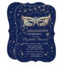 masquerade, navy blue stars quinceañera invitation