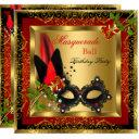 masquerade party ball gold red black mask rose invitation