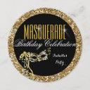 masquerade party birthday gold glitter wild mask invitation
