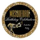 masquerade party birthday gold glitter wild mask invitation