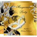 masquerade party birthday mask black gold invitation