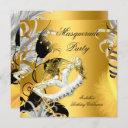 masquerade party birthday mask black gold invitation