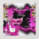 masquerade party birthday pink black white 2 invitation