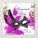 masquerade party birthday pink mask black white invitation