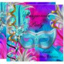 masquerade party birthday teal mask purple pink invitations