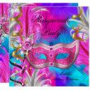 masquerade party birthday teal purple pink invitations