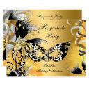 masquerade party birthday wild mask black gold 2 invitation