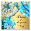 masquerade party fabulous birthday teal blue 2 invitation