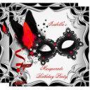masquerade party red silver black mask invitations