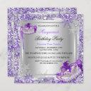 masquerade purple silver snowflakes masks party invitation