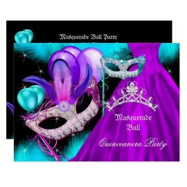 e57ddb814db masquerade quinceanera 15 party teal purple invitations