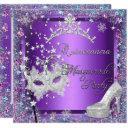 masquerade quinceanera 15th party purple tiara invitation