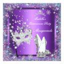 masquerade quinceanera 15th party purple tiara invitation