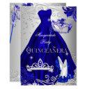 masquerade quinceanera blue silver dress heels invitation
