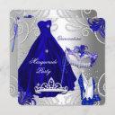 masquerade quinceanera party blue silver dress invitation