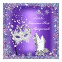 masquerade quinceanera party mask purple tiara invitations