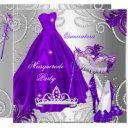 masquerade quinceanera party purple silver dress invitations