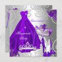 masquerade quinceanera party purple silver dress invitation
