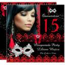 masquerade quinceanera party red lace invitations