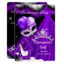 masquerade quinceanera purple black feather 2a invitation