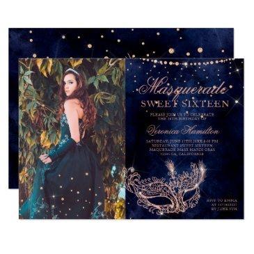 masquerade rose gold glitter sweet 16 photo invitation