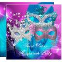 masquerade sweet 16 pink purple teal mask invitations