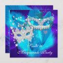 masquerade sweet 16 purple teal blue mask invitation