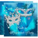 masquerade sweet 16 teal blue feather mask 3 invitations