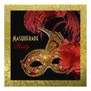 masquerade sweet sixteen party red, faux gold foil invitation