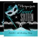 masquerade sweet sixteen sweet 16 teal blue 3 invitation