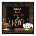 mens 100th birthday cigars,invitations brandy invitations