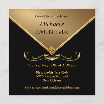 men's elegant gold black 60th brithday invitations
