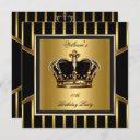 men's elegant gold black stripe birthday crown invitation