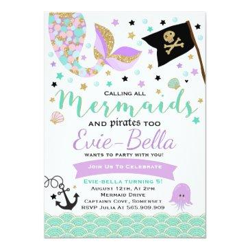 Small Mermaid And Pirate Birthday Invitation Front View