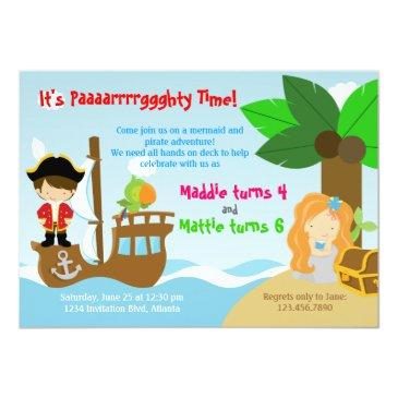 Small Mermaid And Pirate Twins Joint Birthday Party Invitations Front View