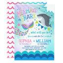 mermaid and shark birthday invitations pool party