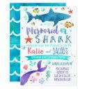mermaid and shark invitations birthday party sea