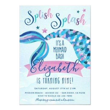Small Mermaid Birthday Party Invites Front View