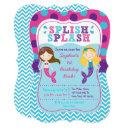 mermaid chevron birthday invitation