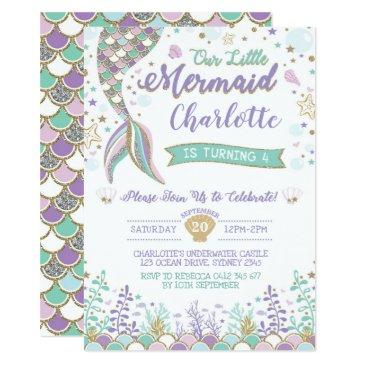 mermaid invitation under the sea birthday sparkle
