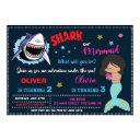 mermaid or shark birthday invitation shark attack