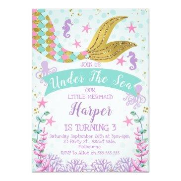 Small Mermaid Or Under The Sea Birthday Invitations Front View