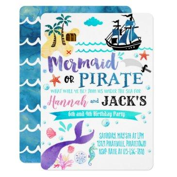 mermaid pirate birthday invitations party dual