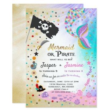 mermaid pirate birthday invitations siblings party