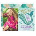mermaid pool party birthday teal gold purple photo invitation